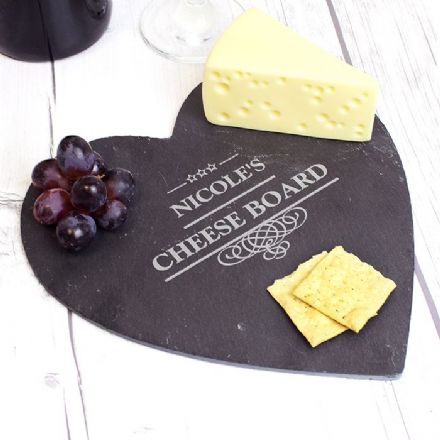 Personalised Decorative Slate Heart Cheese board